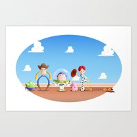 toy story Art Prints featuring TOY STORY by Ana Xoch Guillén
