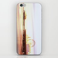 santa monica iPhone & iPod Skins featuring Santa Monica Pier Sunrise by Christine aka stine1