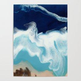 Tsambou, a beach on Samos island, Greece; Resin abstract painting Poster