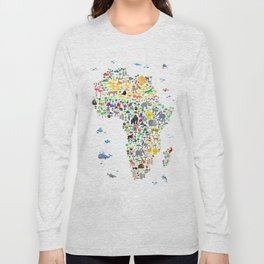 Animal Map of Africa for children and kids Long Sleeve T-shirt