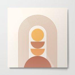 Geometric Lines in Terracotta Gold Beige 9 (Sun Rainbow Mountains) Metal Print