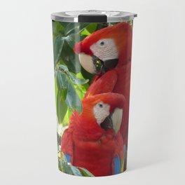 Colorful Macaw Couple Travel Mug