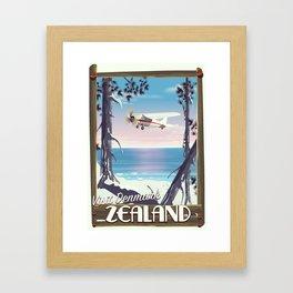 Zealand Denmark travel poster Framed Art Print