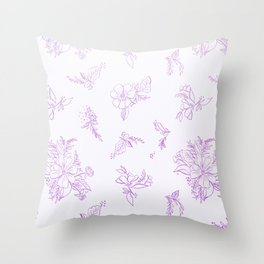 beautiful,violet,floral,shabby chic,pattern,french chic, country chic, vintage, Throw Pillow
