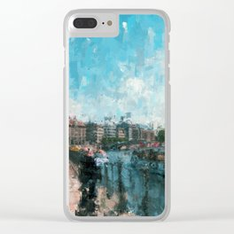Riverside, Berlin Mitte Painting /  impressionism style Illustration  / abstract landmarks drawing Clear iPhone Case