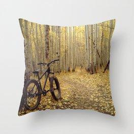 Golden Aspen Mountain Biking Throw Pillow