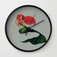 mermaid Wall Clocks featuring mermaid by ArtSchool