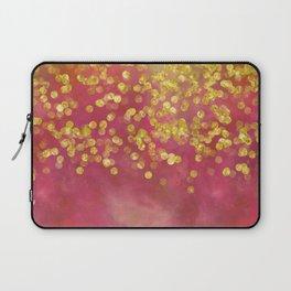 Golden Sparkles on Red Laptop Sleeve
