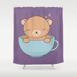 Kawaii Cute Coffee Brown Bear Shower Curtain