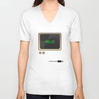 computer V-neck T-shirts featuring Retro Computer  by Daniel McLaren