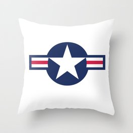 US Airforce style roundel star - High Quality image Throw Pillow