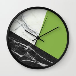 Black and white marble with pantone greenery Wall Clock