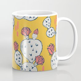 Coral Flowering Cactus on Mustard Yellow Coffee Mug