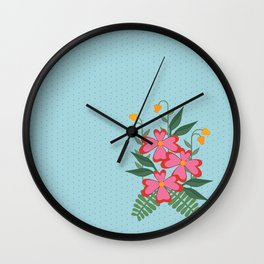 Pink Spring Floral Bouquet Illustration Wall Clock
