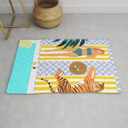 How To Vacay With Your Tiger, Human Animal Connection Illustration, Tropical Travel Morocco Painting Rug