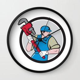 Plumber Running Monkey Wrench Circle Cartoon Wall Clock