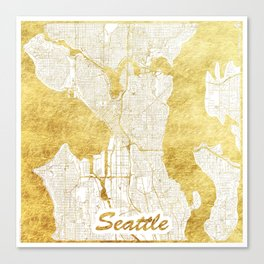 Seattle Map Gold Canvas Print