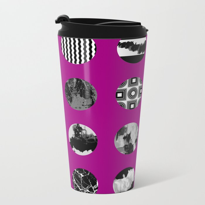 Purple Delight - Black And White Eclectic Random Designs On A Purple Background Metal Travel Mug