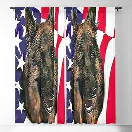 German Shepherd & American Flag Blackout Curtain
