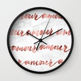 Amour Rose Gold Marble Love Quote Typography Wall Clock