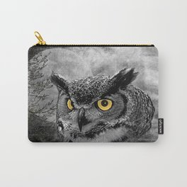 Black & White Great Horned Owl Bird Yellow eye Moon Tree A415 Carry-All Pouch