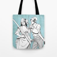 pirates Tote Bags featuring Pirates by Tom Tierney Studios