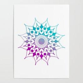Mandala #2 (Purple Pink Turquiose) Poster