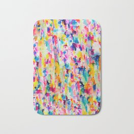 Bright Colorful Abstract Painting in Neons and Pastels Bath Mat