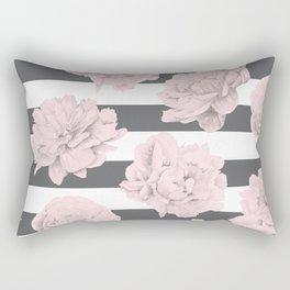 Rose Garden Stripes Pink Flamingo on Storm Gray and White Rectangular Pillow