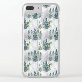 Watercolor forest green snow Christmas pine tree Clear iPhone Case