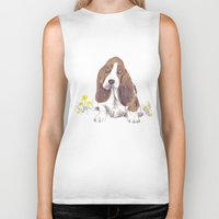 the hound Biker Tanks featuring Basset Hound by jo clark