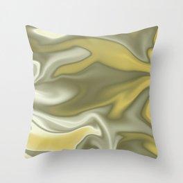 Gold Green Silky Abstract Throw Pillow