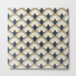 Fan Pattern Blue/Gold Metal Print