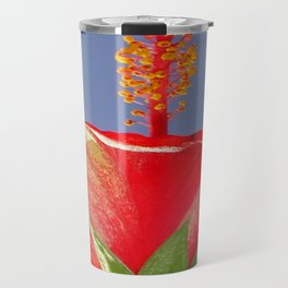 Tropical Red Hibiscus Flower Against Blue Sky Travel Mug