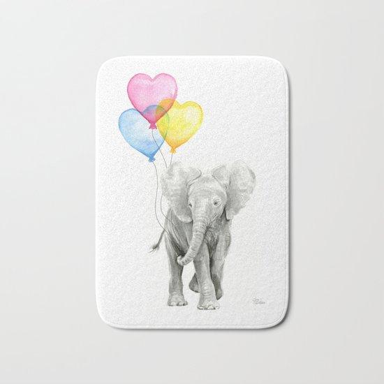 Elephant Watercolor with Balloons Rainbow Hearts Baby Whimsical Animal Nursery Prints Bath Mat