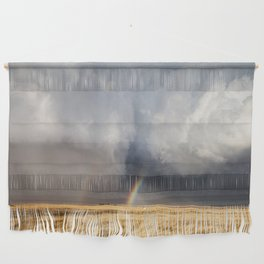 Follow the Rainbow - Bright Rainbow Between Storm Clouds Wall Hanging