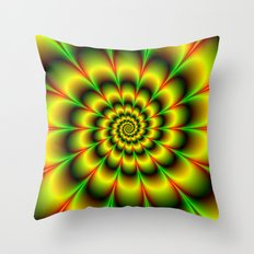 Spiral Rosette in Yellow Green and Red Throw Pillow