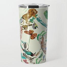illustrations of wild animals and plants with light background Travel Mug
