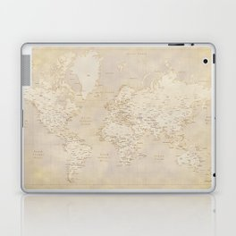 Vintage world map in sepia and gold, Kellen Laptop & iPad Skin