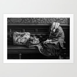 Bag lady in Edinburgh Portrait Gallery Art Print