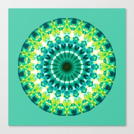 Abstract Acrylic Painting Green Yellow mandala  Canvas Print