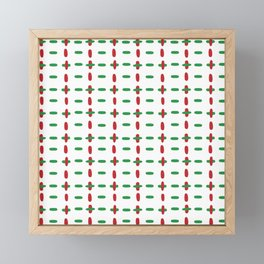 Christmas vector red and green horizontal and vertical stitches aligned on white background seamless Framed Mini Art Print