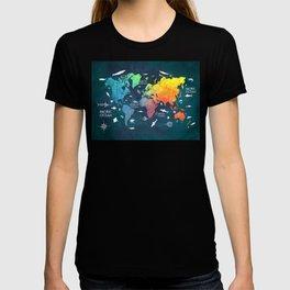Ocean World Map color #map #worldmap T-shirt