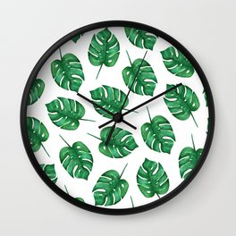 Watercolor Monstera Pattern   Minimal Monstera Leaves pattern Wall Clock