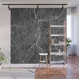 Worcester Map, USA - Gray Wall Mural