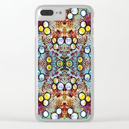 Colorful Gold Circles Pattern Clear iPhone Case