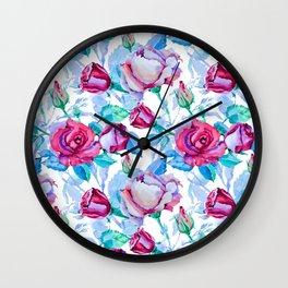 Elegant pink blue watercolor hand painted roses pattern Wall Clock