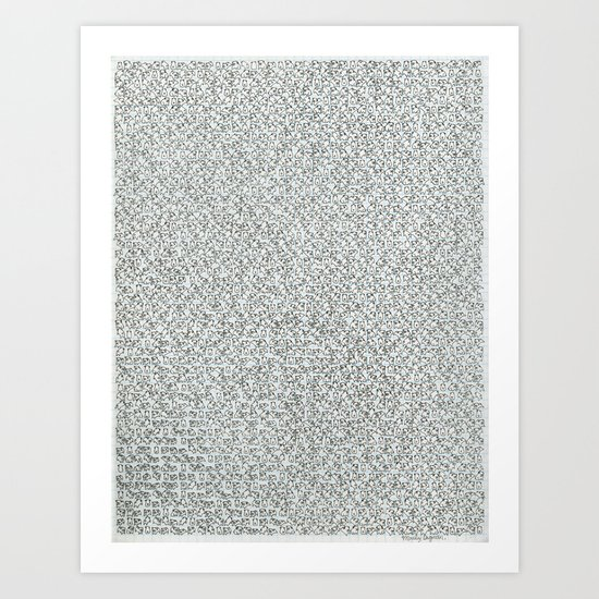 2,173 Pugs on Graph Paper Art Print