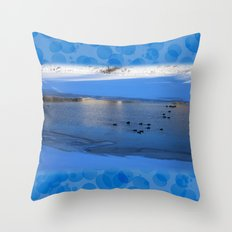Ducks in icy waters Throw Pillow