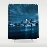 kentucky Shower Curtains featuring Skyline of Louisville Kentucky by ThePhotoGuyDarren